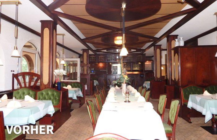 Restaurant-Saal vorher – Interior-Redesign
