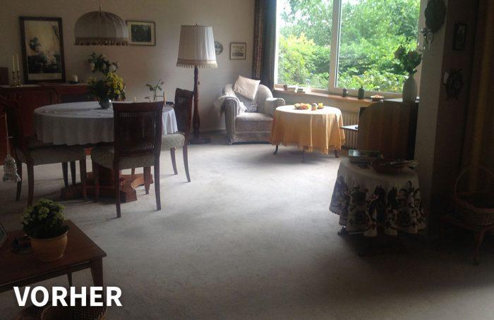 Wohnenzimmer und Essbereich vorher – Ferienwohnung